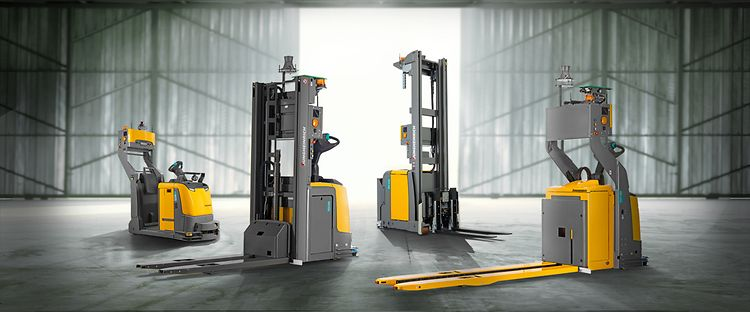 Featuring Image Representing The Automated Guided Machines Isolated On A Warehouse Background.