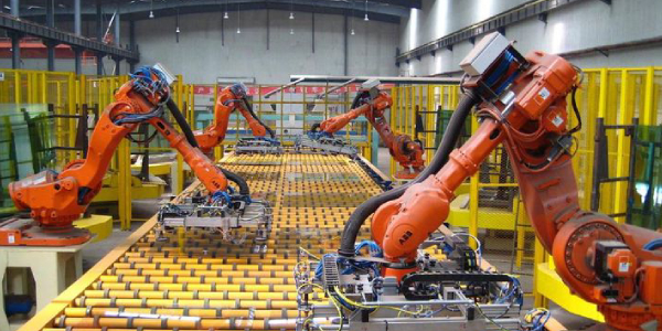 Industrial Collaborative Robot In Smart Warehouse System For Manufacturing Factory .