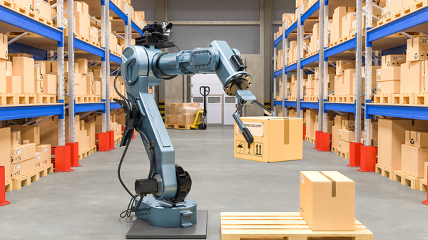 Image Depicting Industrial Collaborative Robot Holding A Package In Warehouse Industry.