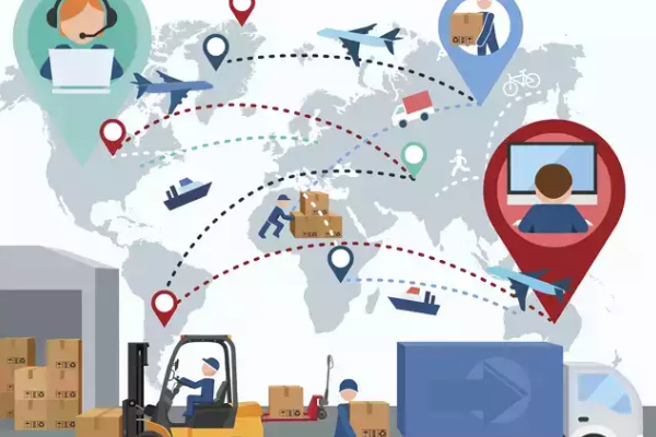 Illustrated Vector Image That Representing The Entire Process of Logistics industry.